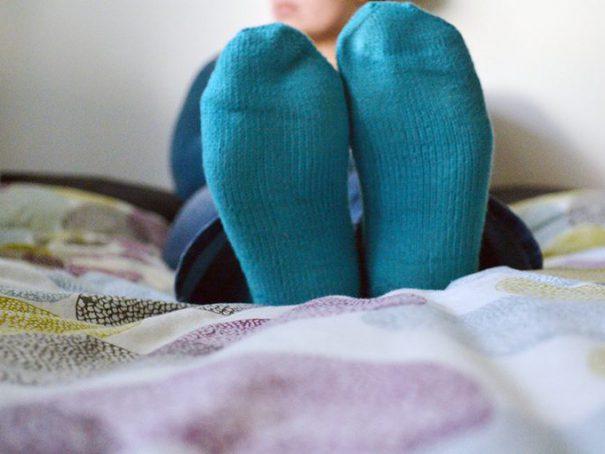 Afbeelding gebreide sokken blauw