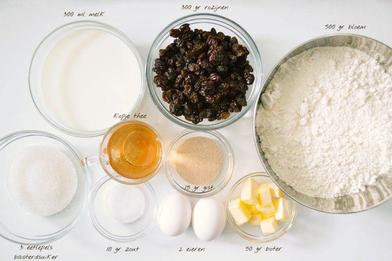 Afbeelding recept krentenbollen ingrediënten