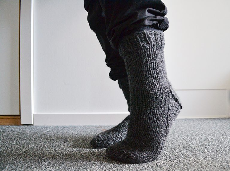 Afbeelding gebreide sokken donkergrijs