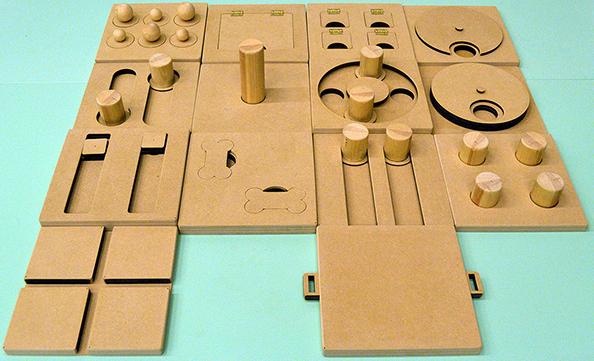 Afbeelding honden puzzles gemaakt met laser cutter