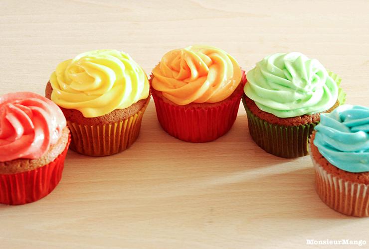 Afbeelding regenboog cupcakes