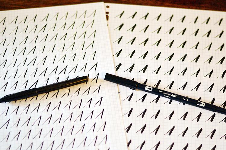 Afbeelding kalligrafie oefening Tombow 01