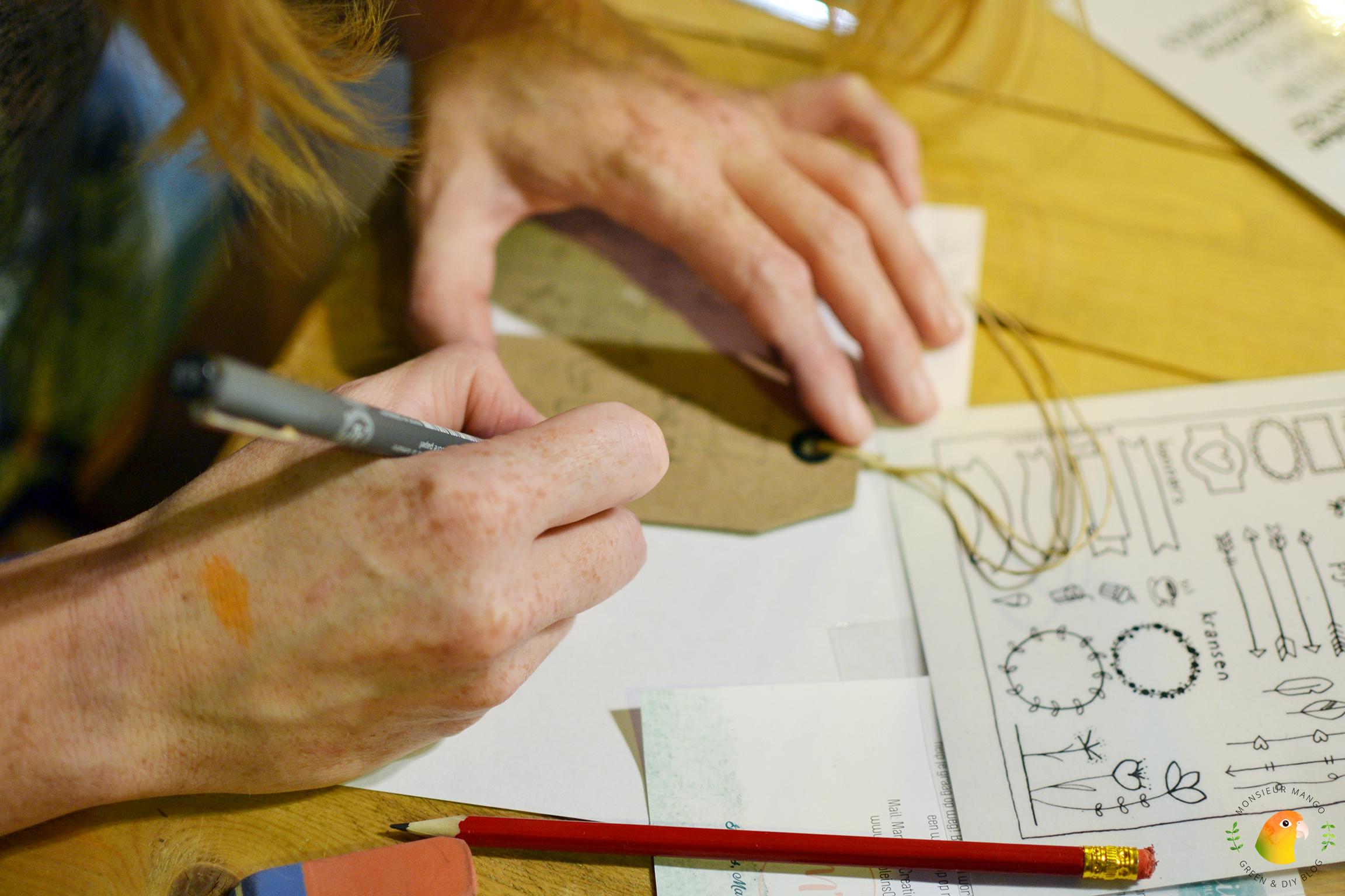 Afbeelding PaperPassion Marjolein's Creations handlettering workshop op kaartje