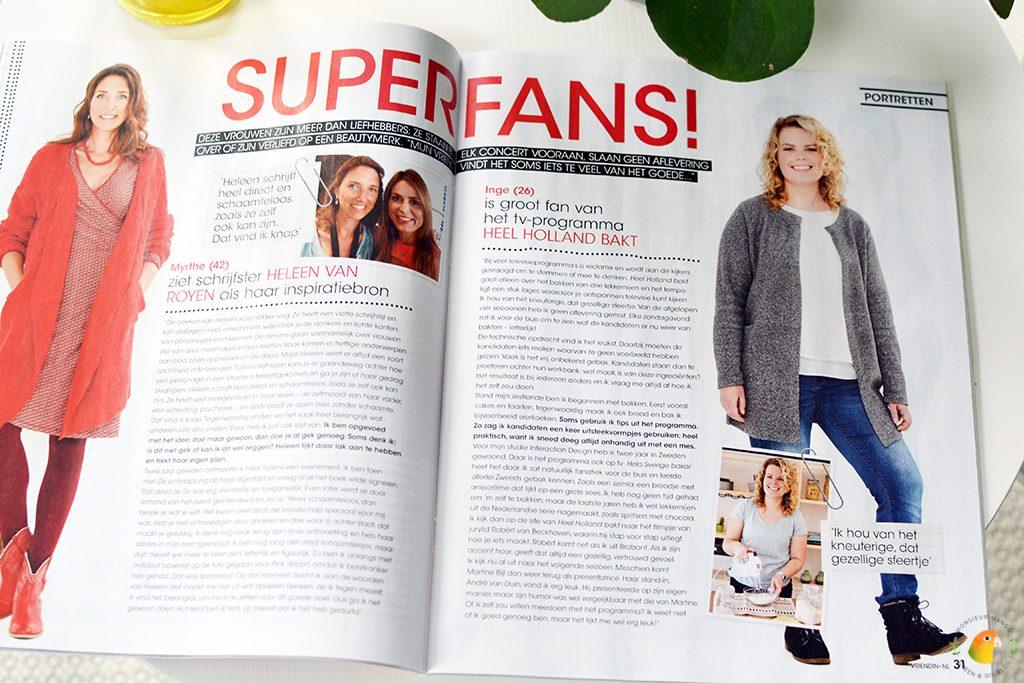 Afbeelding tijdschrift Vriendin overzicht rubriek superfans