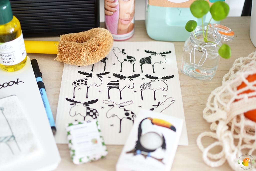 Win een green happiness pakket bij MonsieurMango.nl - biologisch afbreekbaar vaatdoekje en afwasborstel
